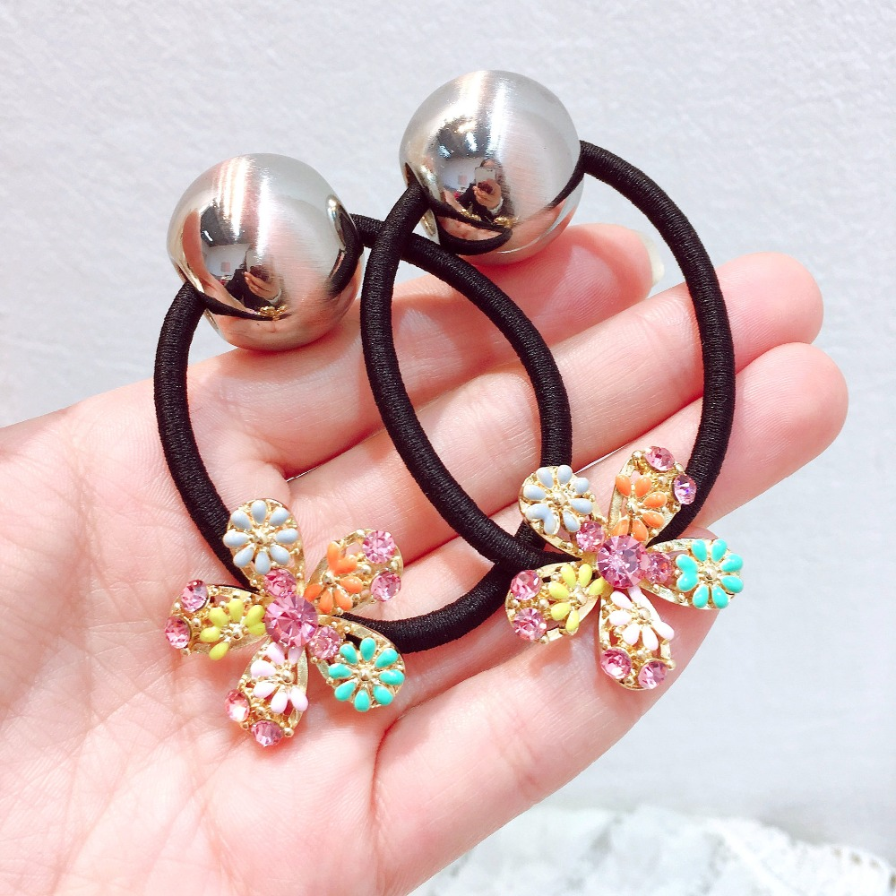 Korea  Super Shiny Crystal Colorful Flower Elastic Hair Bands Accessories Rubber Band Gum For Ties