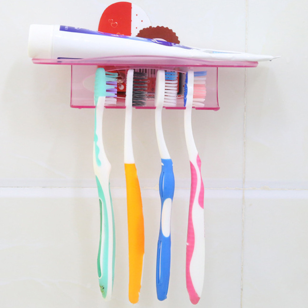 Bathroom Accessories Set Tooth Brush Holder Holder Wall Mount Stand Rack Toothbrush Wall Mount Rack Bathroom Tools Set #F