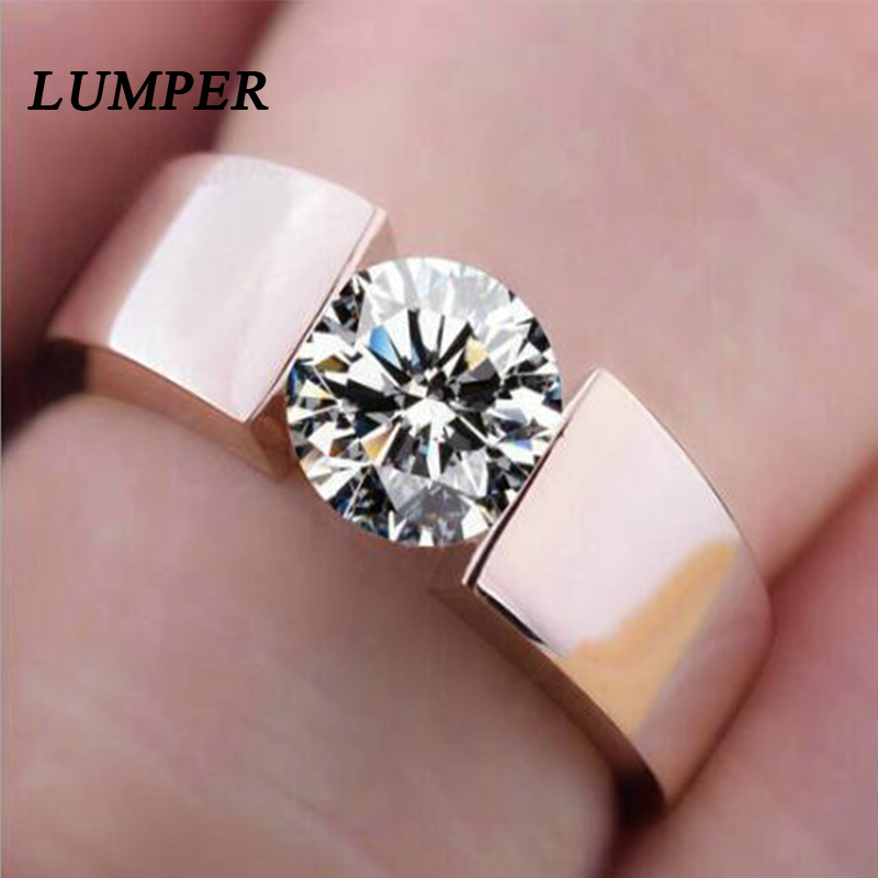 LUNPER 6mm classic wedding ring for men / women rose gold / silver color stainless steel us size 10 1