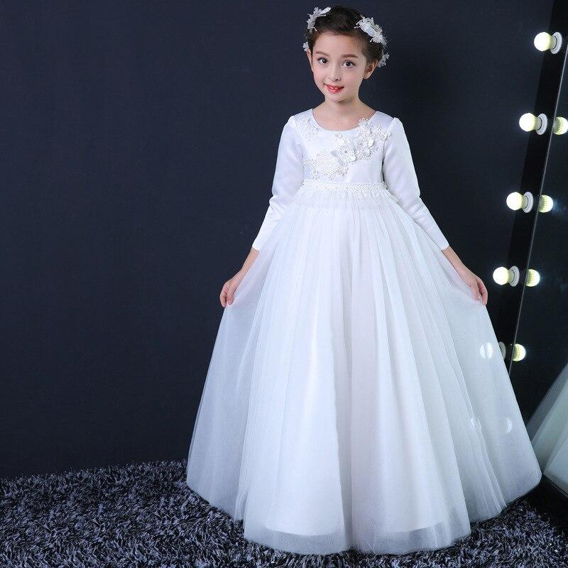 Flower Girl Dress Simple Design Ақ Ұзын Vestidos 3-14 - Балалар киімі - фото 3