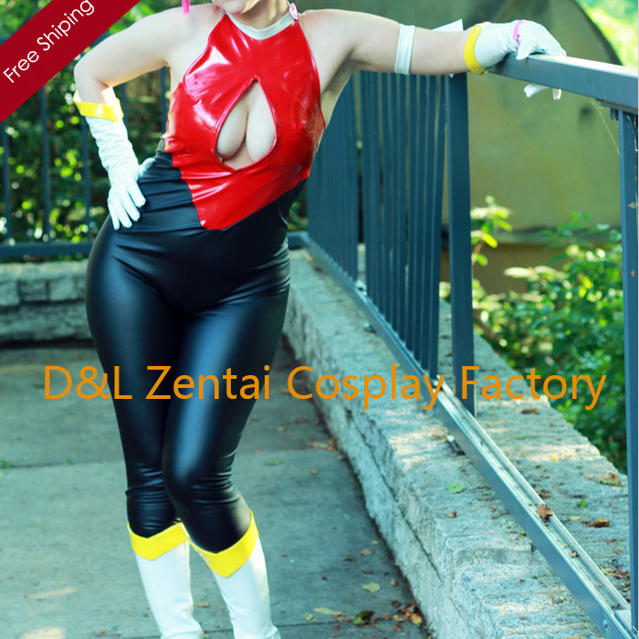 Free Shipping DHL Custom Made Cutie Honey Black with Red Sleeveless PVC Unisex Leotard Jumpsuit PV1706