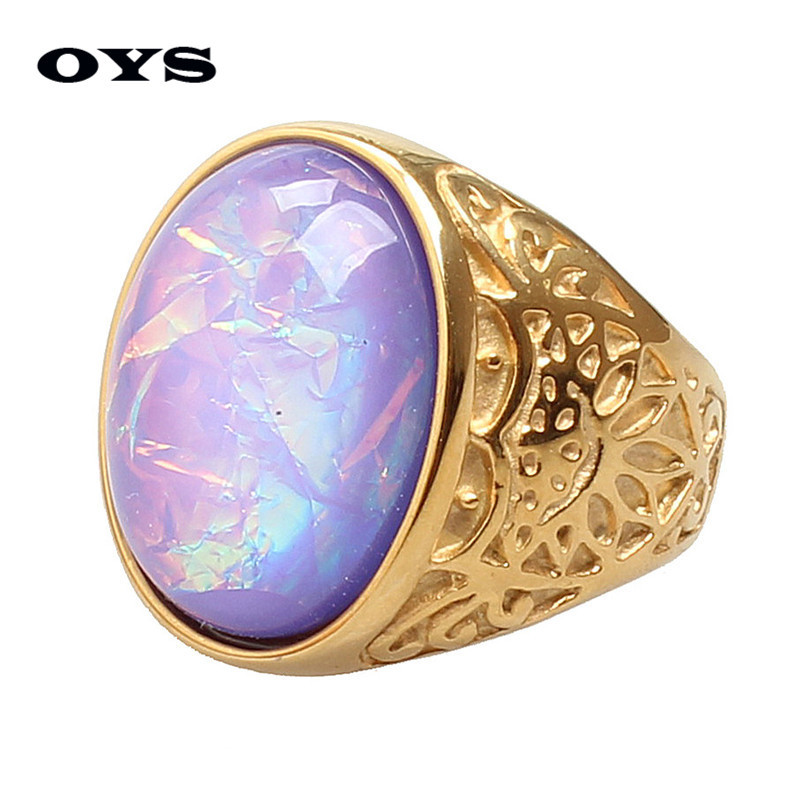Wholesale 2016 New Vintage Hot Selling Party Trendy 2 Colors 316L Titanium Steel Jewelry Classic Oval Gem Rings for Men