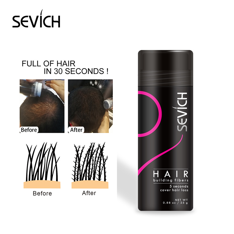 25g Refill SEVICH Keratin Hair Building Fiber Style Hair Loss Concealer Fiber Hair Powder Wax Fargestoffer Parykker Extension 10Colors