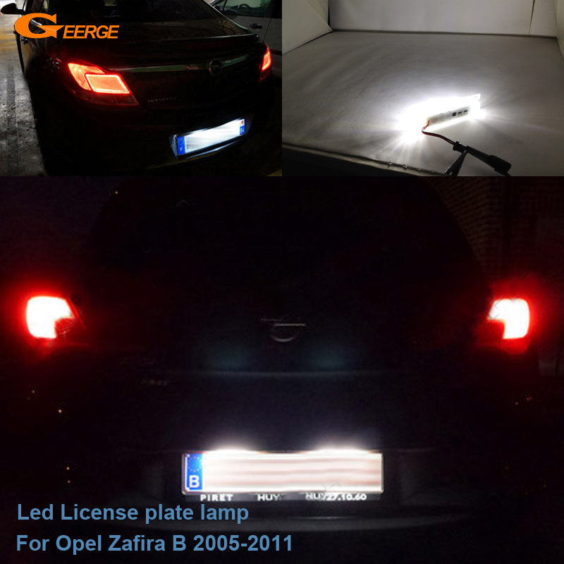 For Opel Zafira B 2005 2006 2007 2008 2009 2010 2011 Excellent Ultra bright Led License plate lamp light No OBC error car rear trunk security shield cargo cover for jeep compass 2007 2008 2009 2010 2011 high qualit auto accessories
