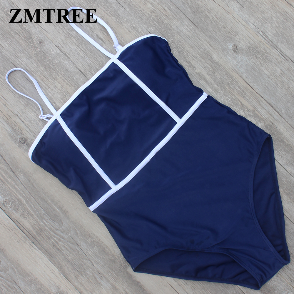 ZMTREE One Piece Swimsuit Women Bathing Suit Patchwork Swimwear Blue Bodysuit Beach Wear 2017 Monokini Maillot De Bain Femme XL