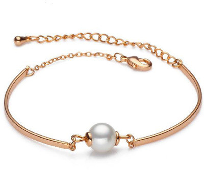 Rose Gold /Silver Plated 2015 New Arrival Pearl Predant Bracelet Titanium Steel Jewelry Birthday Gift Free Shipping Not Fade