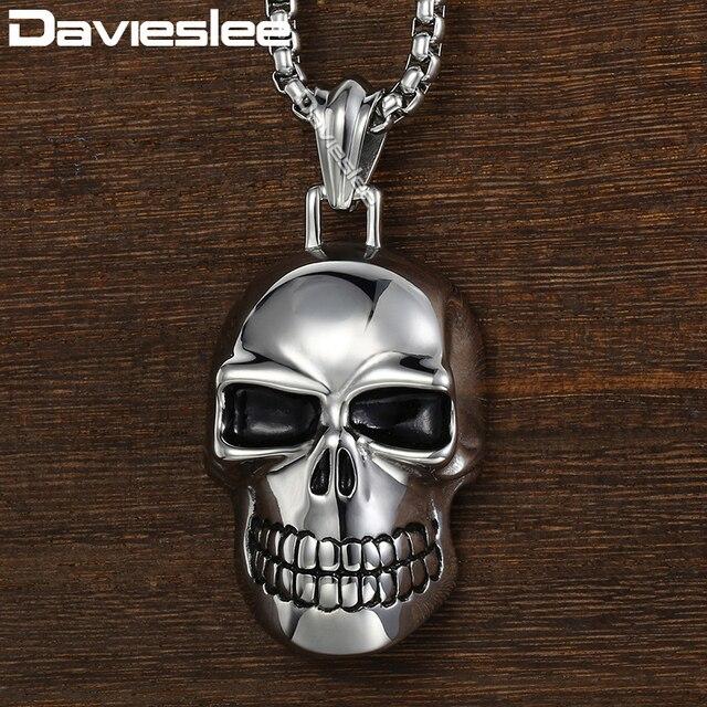 7791c8e48c95 Davieslee cráneo colgante de los hombres collar gótico punky negro oro plata  color 316L Acero inoxidable