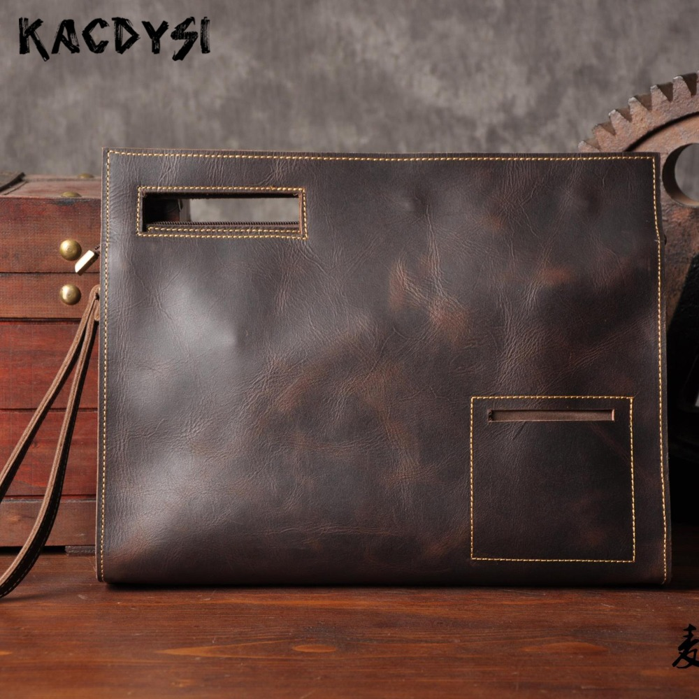 Crazy Horse Leather Mens Handbag Original Retro Genuine Cow Leather Large Envelope Document Package Unique Man