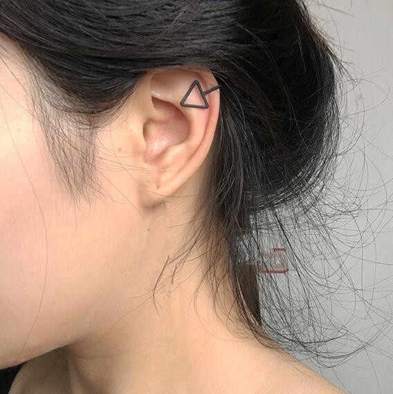Pendientes de Clip de moda para mujer imitación perla Cruz cristal triangular hueco en forma de U hueso oreja brazalete Invisible joyería hombres es