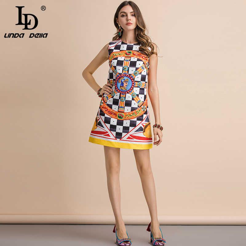LD LINDA DELLA Новый 2019 мода взлетно-посадочной полосы летнее платье Для женщин великолепные Бисер плед печати рукавов Тонкий элегантный Мини-платья