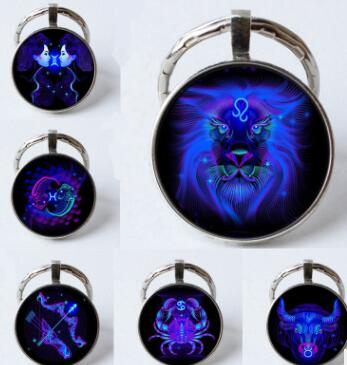 Luminous Zodiac Sign Keychain 12 Constellation Leo Libra Scorpio Sagittarius Pendant Double Face Keyring Key Holder Birthday