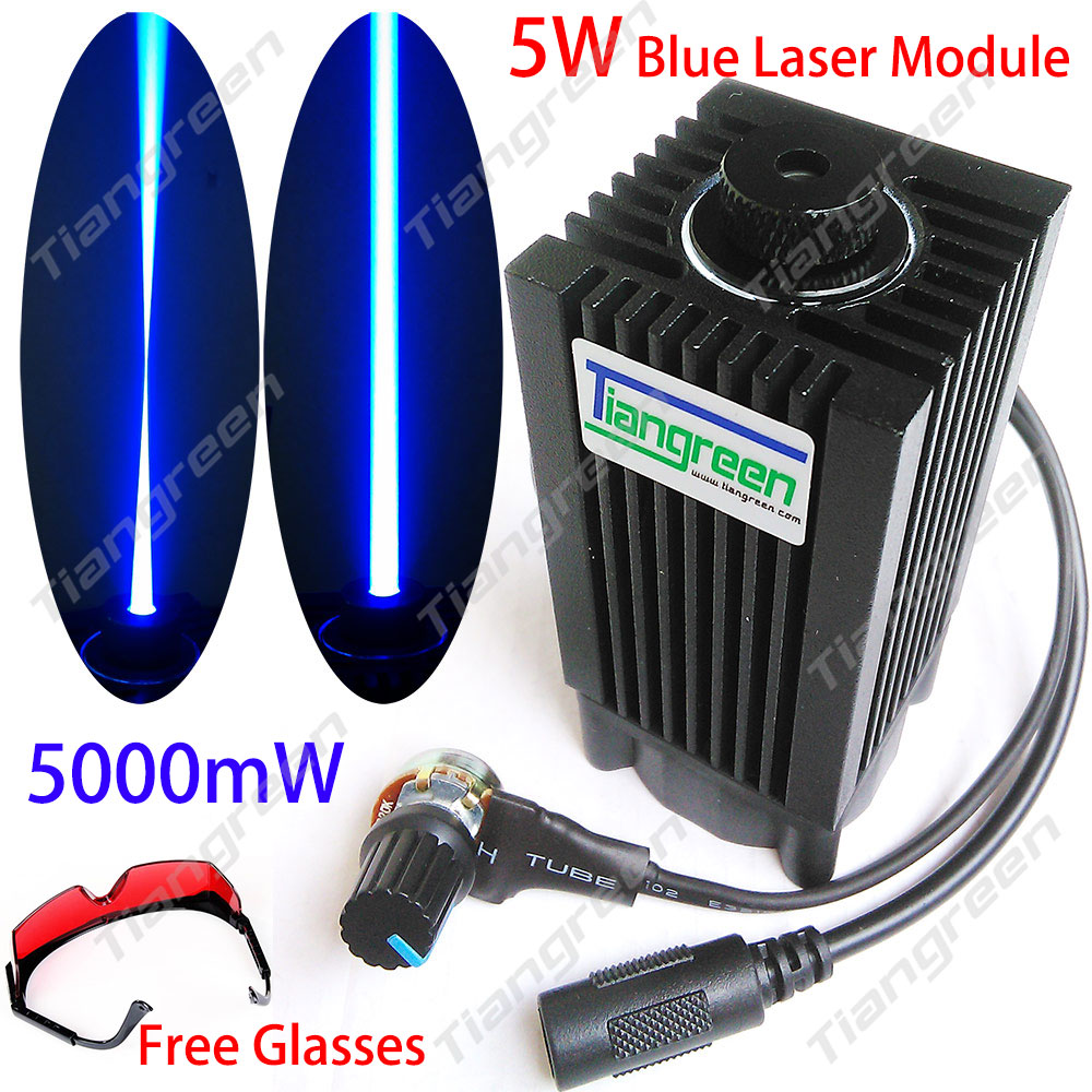 445nm 5W Blue Laser Module 450nm 5000mW Laser Head + Heatsink Cooling Fan DIY Focusing Laser Cutter CNC diy focusable 5w laser module 5 5w laser module 7w high power for cnc cutter laser engraving machine 2w 2 5w laser module 445nm