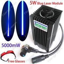 445nm 5 W Módulo de Láser Azul 450nm 5000 mW Láser Cabeza + Ventilador De Refrigeración Del Disipador de calor de BRICOLAJE de Enfoque Láser de Corte CNC