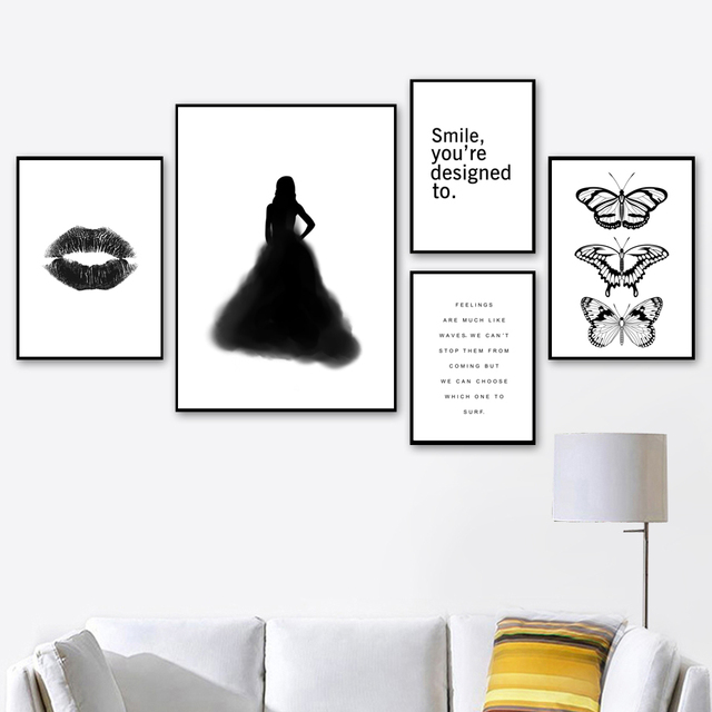 Black White Watercolor Girl Lip Butterfly Wall Art Canvas Painting Nordic Posters And Prints Wall Pictures For Living Room Decor