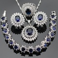 Mulheres Conjuntos de Jóias de Cor Prata Escuro Azul Safira Criado Branco CZ Colar Pingente Pulseiras Brincos Anéis Caixa de Presente Livre