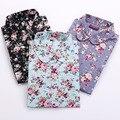 Mulheres do vintage Camisas de Mangas Compridas Blusas de Algodão Turn Down Collar Camisas Florais Blusas Femininas Moda Feminina Camisa Tops