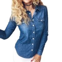 Plus Size XXXXLNew 2016 Women Clothes Blouse Long Sleeves Denim Shirt Nostalgic Vintage Blue Jeans Shirt