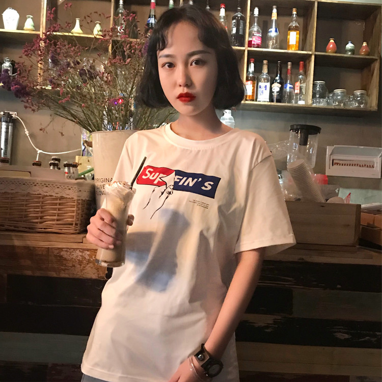 Pottis Tee Shirt Femme Korean Cotton Summer Tops Casual Short Sleeve Fashion T Shirts Ulzzangt Clothes Women For Girl Lady