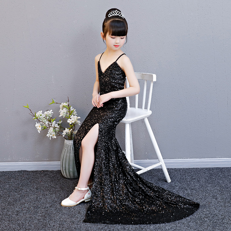 Sequined Flower Girl Dresses Black Wedding V-neck Long Kids Dress Backless Evening Tutu Mermaid Princess Dress for Birthday sequined appliques flower girl dresses wedding ball gown v neck long kids dress evening floral tutu princess dress for birthday