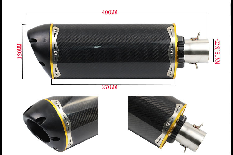 Motorcycle performance exhaust pipe CNC carbon fiber oval tube Large displacement car brothers exhaust pipe ID 51mm free shipping carbon fiber id 61mm motorcycle exhaust pipe with laser marking exhaust for large displacement motorcycle muffler