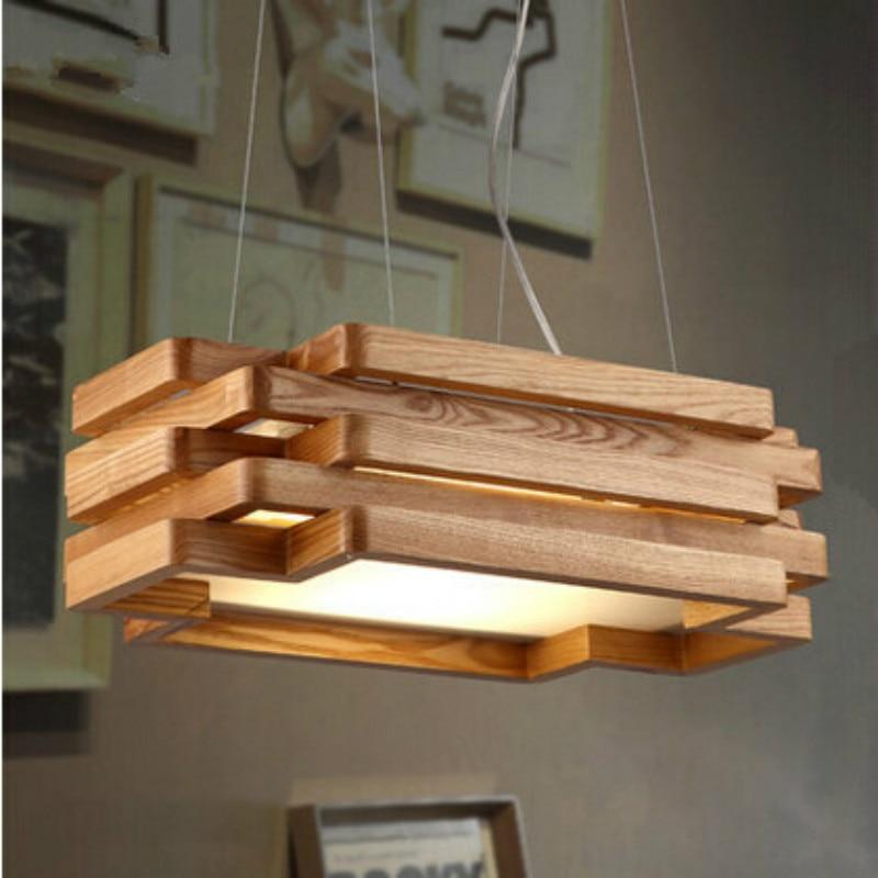 Modern Nordic Brief Designers Rectangular Original Ash Wood Led Pendant Light For Living Room Dining Room Coffee Shop 1049