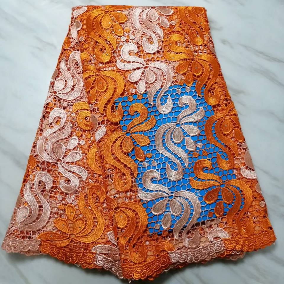 5Yards/pc Fashionable orangeand champagne african water soluble lace embroidery french guipure lace for dressing BW31-85Yards/pc Fashionable orangeand champagne african water soluble lace embroidery french guipure lace for dressing BW31-8