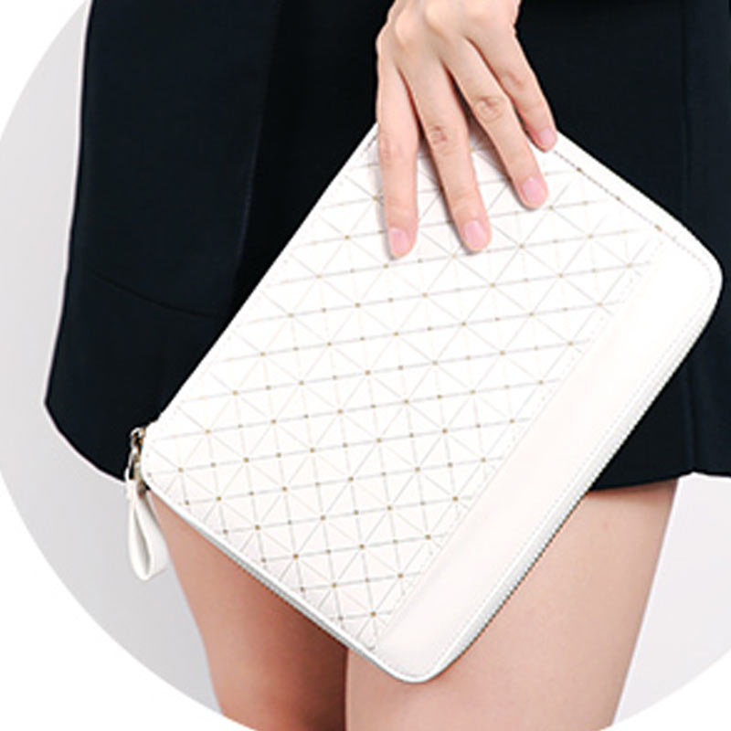 US $36 43 8% OFF Yiwi Notebook White Gold Stripe Zipper Bag PU Leather  Organizer Planner With Calculator or Memo Pads -in Notebooks from Office &