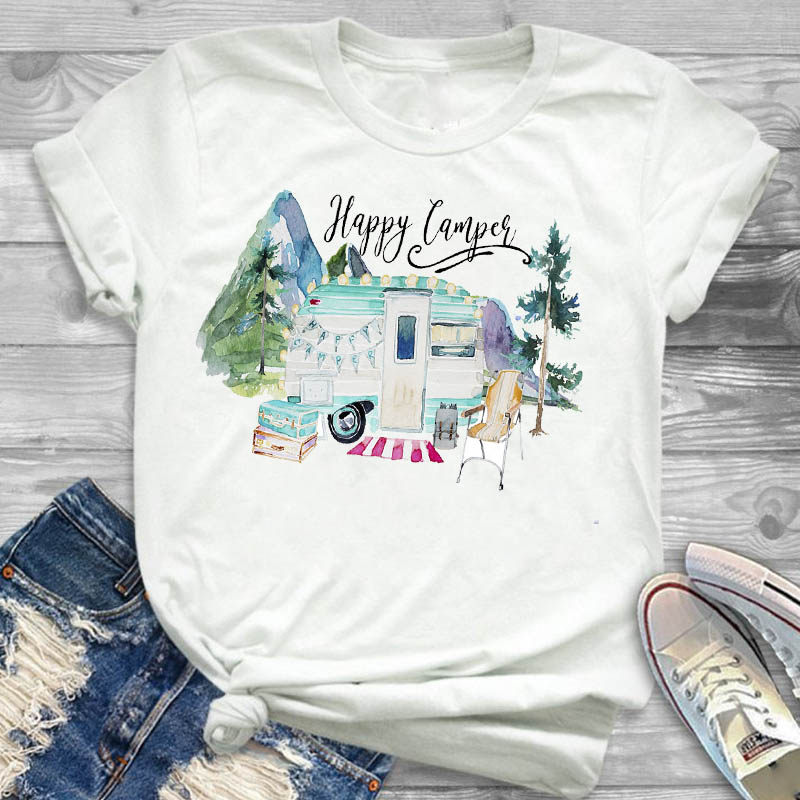 Women Shirt Happy Camper Car Mountain Ladies Female Clothing T Womens Clothes T-shirt Graphic Short Sleeve Printed Top Tshirt