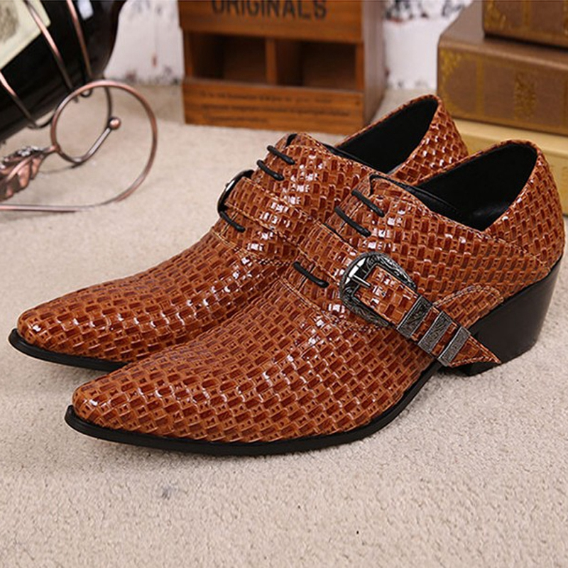 Plus Size Italian Designer Pointed Toe Man Modern Runway Oxfords Genuine Leather High Heels Men's Formal Dress Party Shoes SL255 plus size 2016 new formal brand genuine leather high heels pointed toe oxfords punk rock men s wolf print flats shoes fpt314