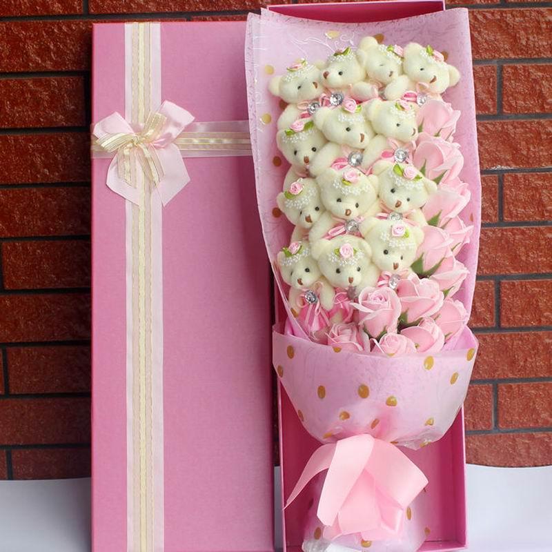 SAILEROAD 1314 Animal Bear Fake Flowers Stitch Bouquet Plush Stuffed Toy Artificial Kawaii Stitch Valentine s