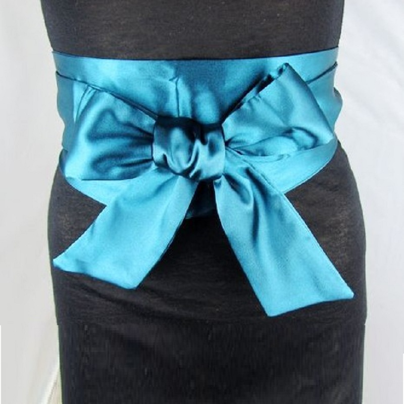 New Vintage Wide Silk Woman Belt Double-Circle Satin Straps Bowknot Waist Belt