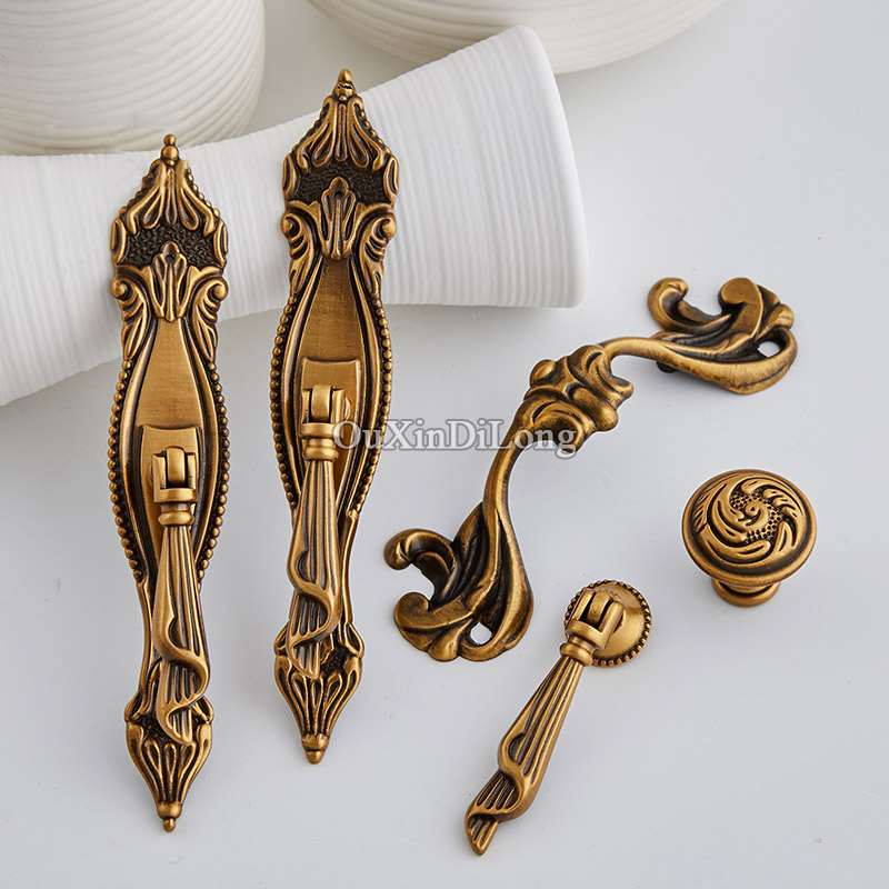 High Quality 10PCS Furniture Handles European Pure Brass Drawer Wardrobe Cupboard Kitchen Cabinet Door Pulls Handles & Knobs push to open beetles drawer cabinet latch catch touch release kitchen cupboard new arrival high quality