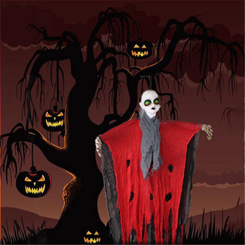 Voice 100cm Halloween Hanging Electric Induction Ghost Haunted House Hanging Horror Prop Home Door Bar Club Halloween Decoration