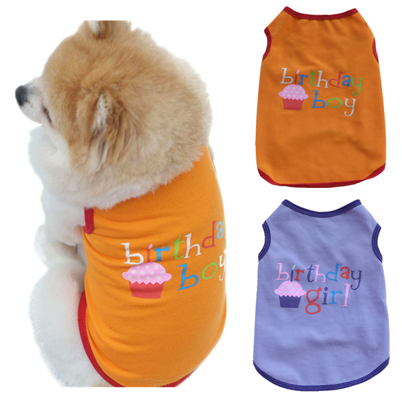 1 PC Summer Pet Clothes For Small Middle Dog Cat XS-L Boy Girl Birthday Cute Cake Printed Pet Vest T-Shirt Wholesale 30A20