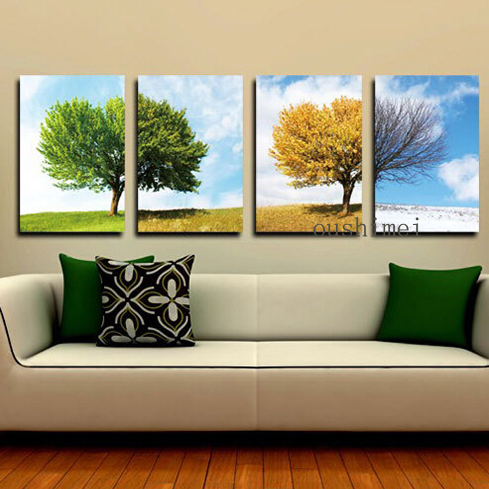 Hand Painted Oil Painting Picture For Living Room Decor Modern Season Landscape Home Decor Hand Painting