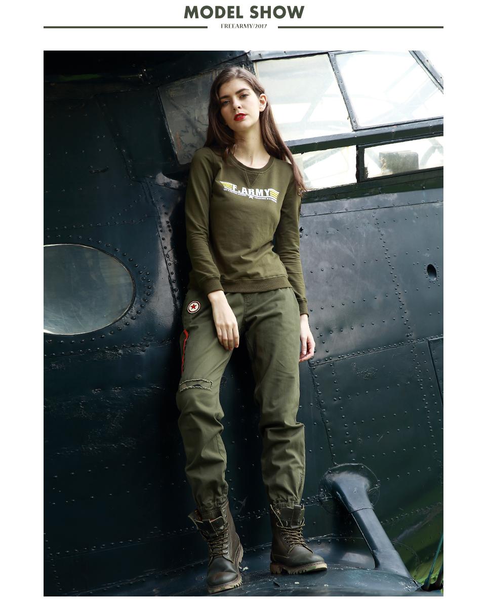 Dollar 人気 Army 迷彩ズボン弾性ウエストズボン女性四カラーアンクル丈パンツの女性のの服 5
