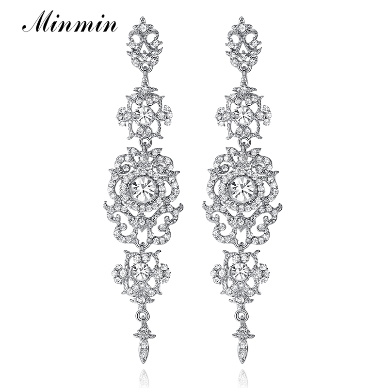 Spring New Arrival Floral Shape Chandelier Austrian Crystal Long Earrings for Women Wedding Bridal Charming Drop Earrings EH182