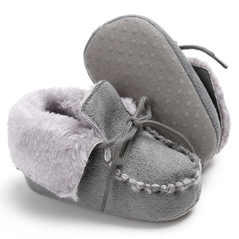 Raise Young Flock Winter Plus Velvet Warm Baby Boots Soft Soles Non-slip Toddler Girl Bo ...