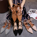 35-42 Autumn 2017 Brand Women Gladiator Roman Strappy Lace Up Bandage Cut Out pointy toe nubuck Leather oxfords Ballet Flats