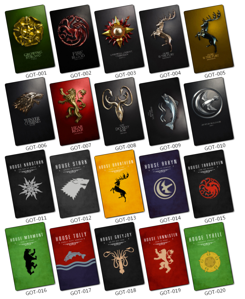 65 Pcslot Game Of Thrones House Sigils Mottos Card Stickers Family