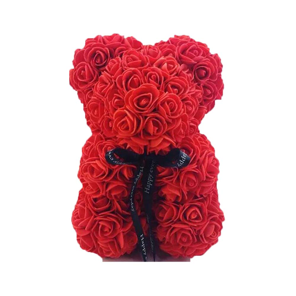 25 Cm Foam Bear of Roses Bear Rose Flower Artificial New Year Gifts for Women Valentines Gift Christmas Decorations for Home in Party DIY Decorations from Home Garden