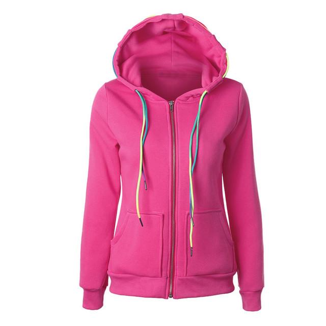 Pinkqueen HoodiesCotton Mistura Slim Senhoras fatos de Treino Camisolas Das Mulheres Cor Sólida Zipper Jaqueta Casaco Feminino Rosa Azul