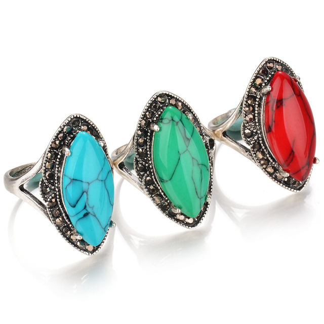 2017 New Boho Calaite Bague Vintage Red Blue Green Stone Ring Antique Silver Pla