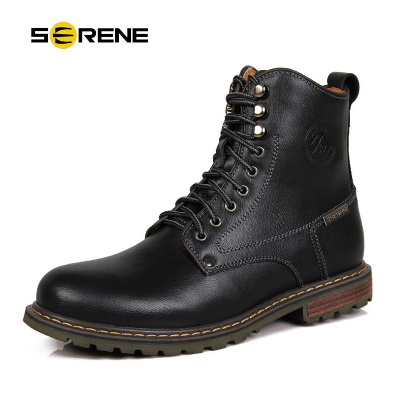 SERENE Brand Winter Mens Boots Casual Cow Leather Boots British Retro Mid-Calf Tooling  Boots Mens Shoes Lace Up Army Boots 3123