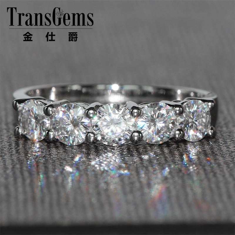 TransGems 1.25 CTW Carat 4 MM FGH Couleur Lab Grown Moissanite Diamant Bande De Mariage Solide 14 K Blanc Or Demi l'éternité pour Femmes