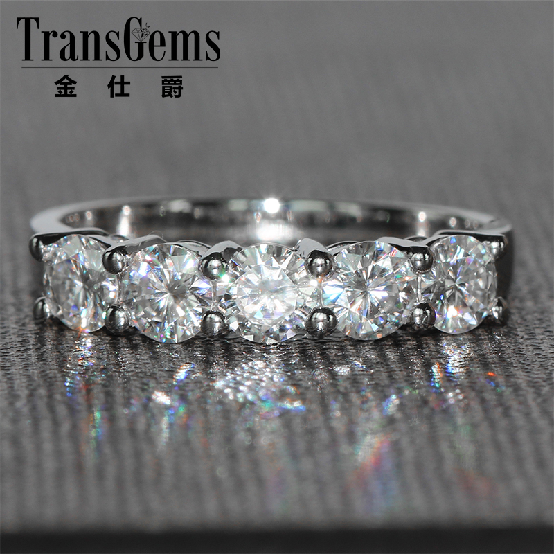 TransGems 1.25 CTW Carat 4MM FGH Color Lab Grown Moissanite Diamond Wedding Band Solid 14K White Gold Half Eternity for Women-in Rings from Jewelry & Accessories    1