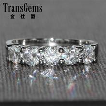 TransGems 1.25 CTW Carat F Color Moissanite Wedding Ring Round Brilliant 14K White Gold Half Eternity Band for Women