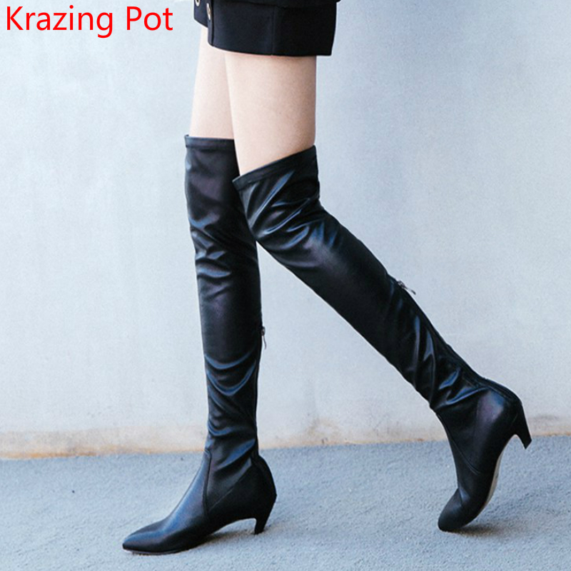 2018 Handmade Genuine Leather Thigh High Boots Superstar Stretch Boots Sexy Med Heels Pointed Toe Women Over-the Knee Boots L8r handmade high quality boots over the knee women 2017 winter new genuine leather pointed toe sexy thin high heels big plus size42