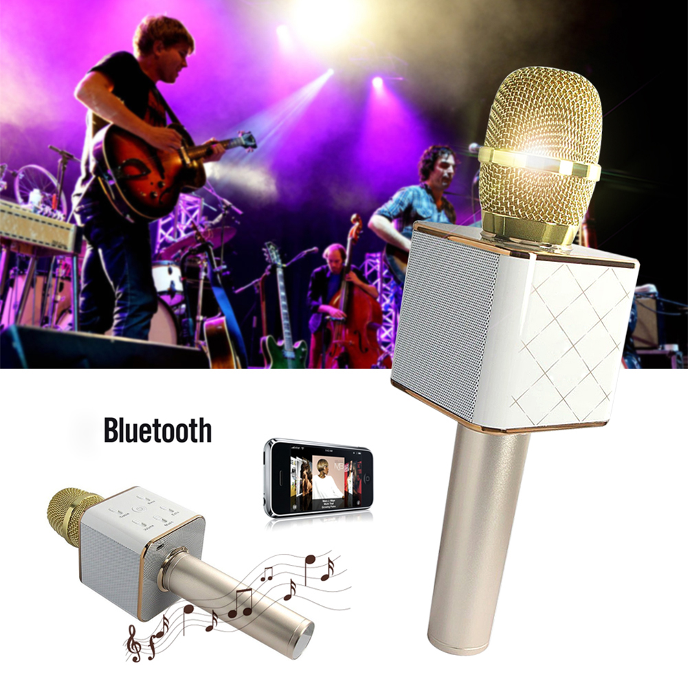 ФОТО YCDC Wireless Microphone Pocket Party KTV karaoke Wireless Bluetooth Q7 Microphone With Speaker for Mobile Phone Laptop Home KTV