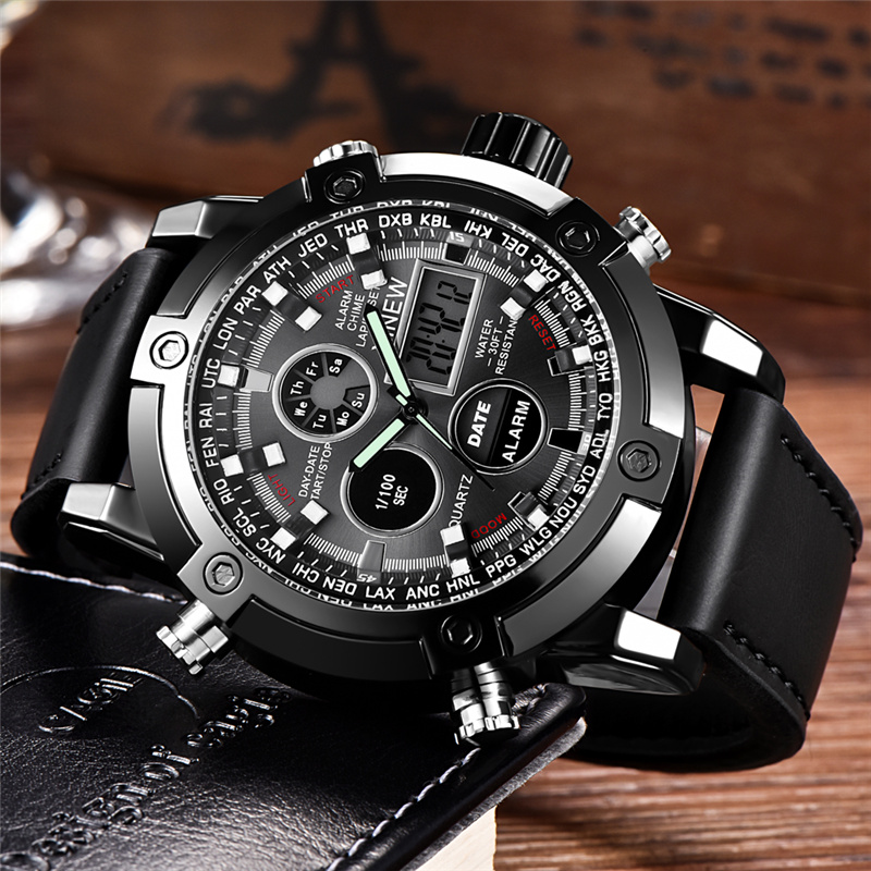 Men Luxury Brand Dual Time Watches Chronograph Digital Sport Military Watch Quartz Clock Male Wristwatch Relogio Masculino dynacord psd 218